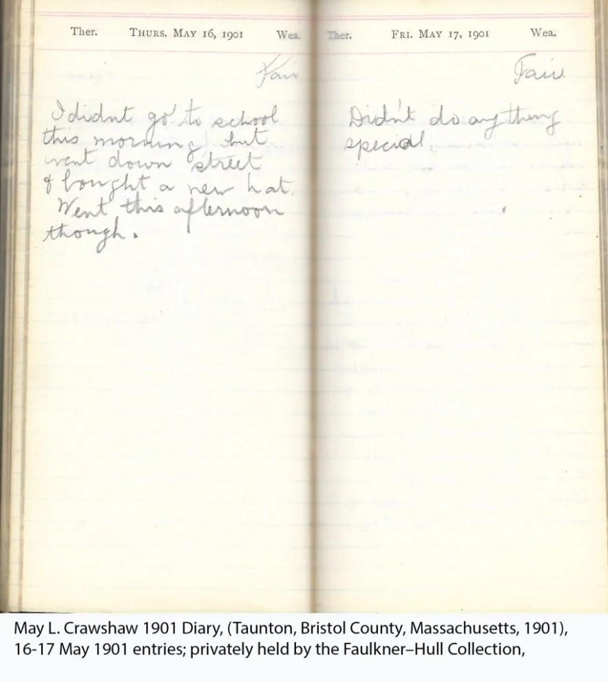 May L. Crawshaw 1901 Diary, Taunton, Bristol County, Massachusetts, 16-17 May 1901 entries