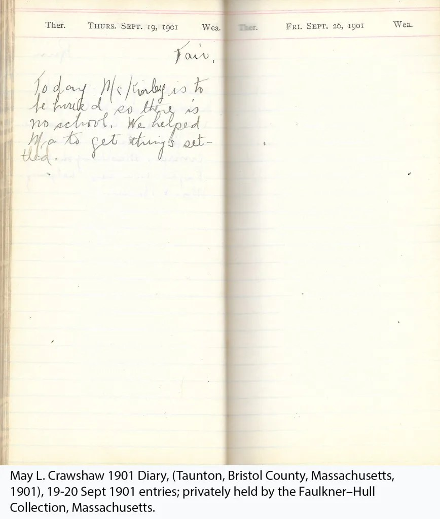 May L. Crawshaw 1901 Diary, (Taunton, Bristol County, Massachusetts, 1901), 19-20 Sept 1901 entries; privately held by the Faulkner–Hull Collection, Massachusetts.