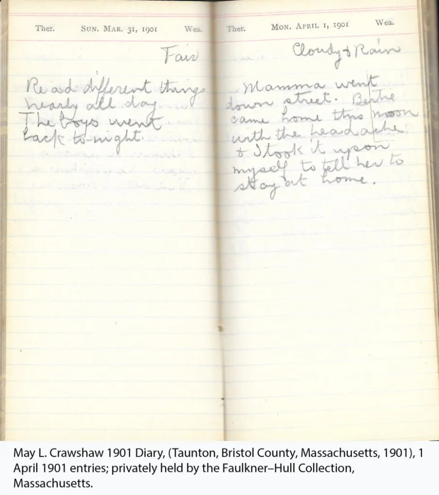 May L. Crawshaw 1901 Diary, Taunton, Bristol County, Massachusetts, 1901, 1 April 1901 entries