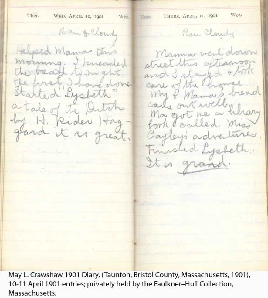 May L. Crawshaw 1901 Diary, Taunton, Bristol County, Massachusetts, 1901, 10-11 April 1901 entries