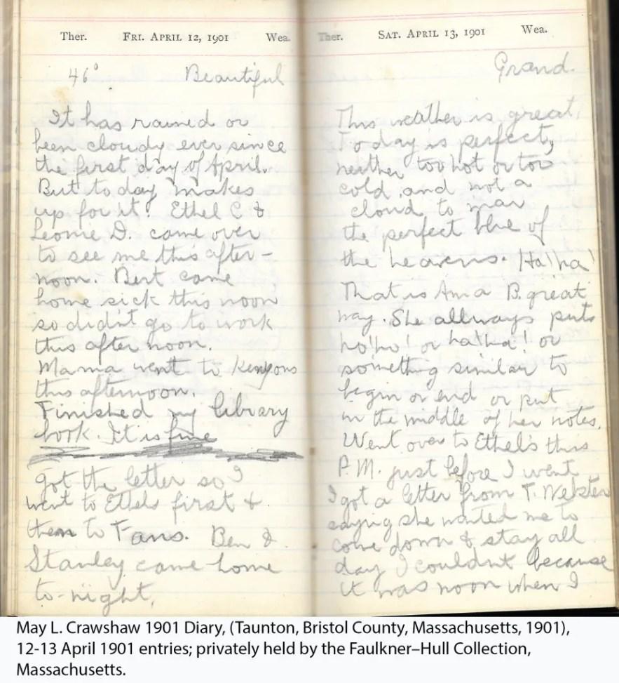 May L. Crawshaw 1901 Diary, Taunton, Bristol County, Massachusetts, 1901, 12-13 April 1901 entries