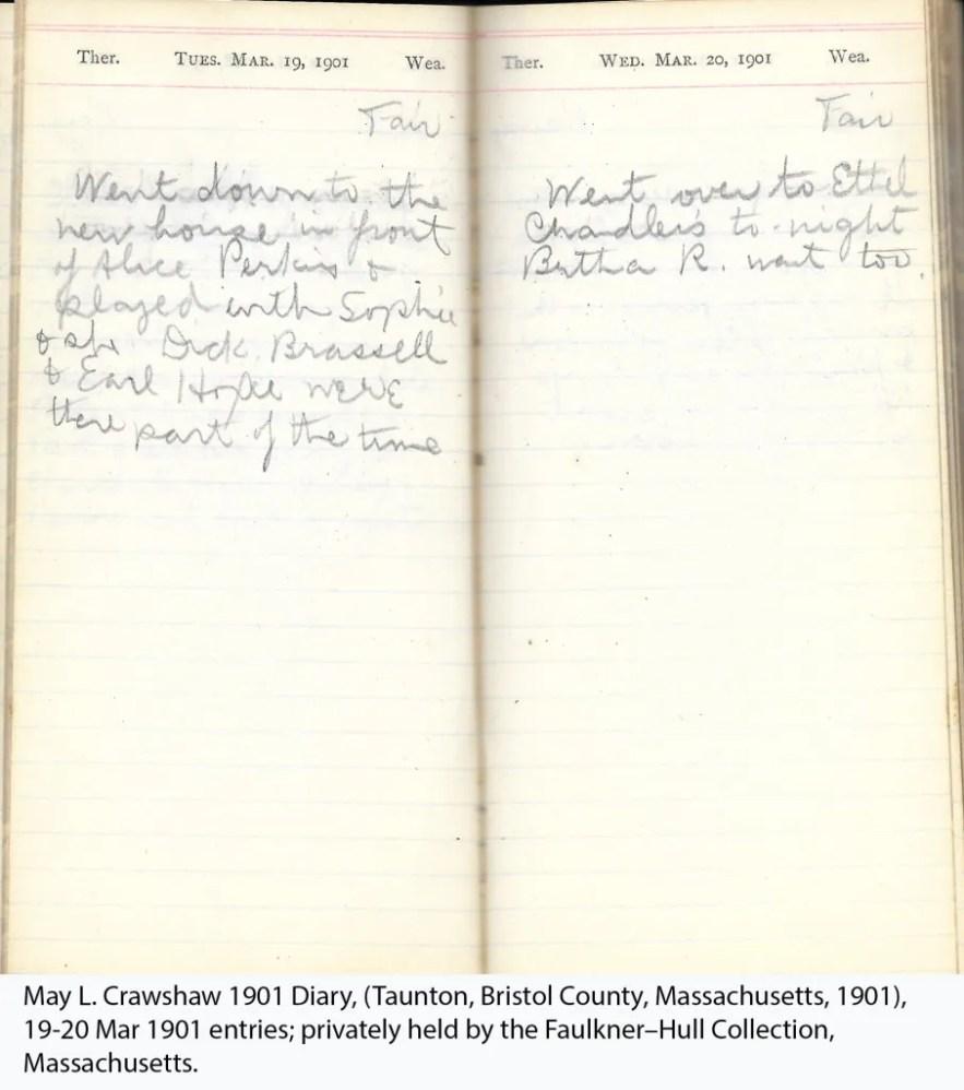 May L. Crawshaw 1901 Diary, Taunton, Bristol County, Massachusetts, 1901, 19-20 Mar 1901 entries