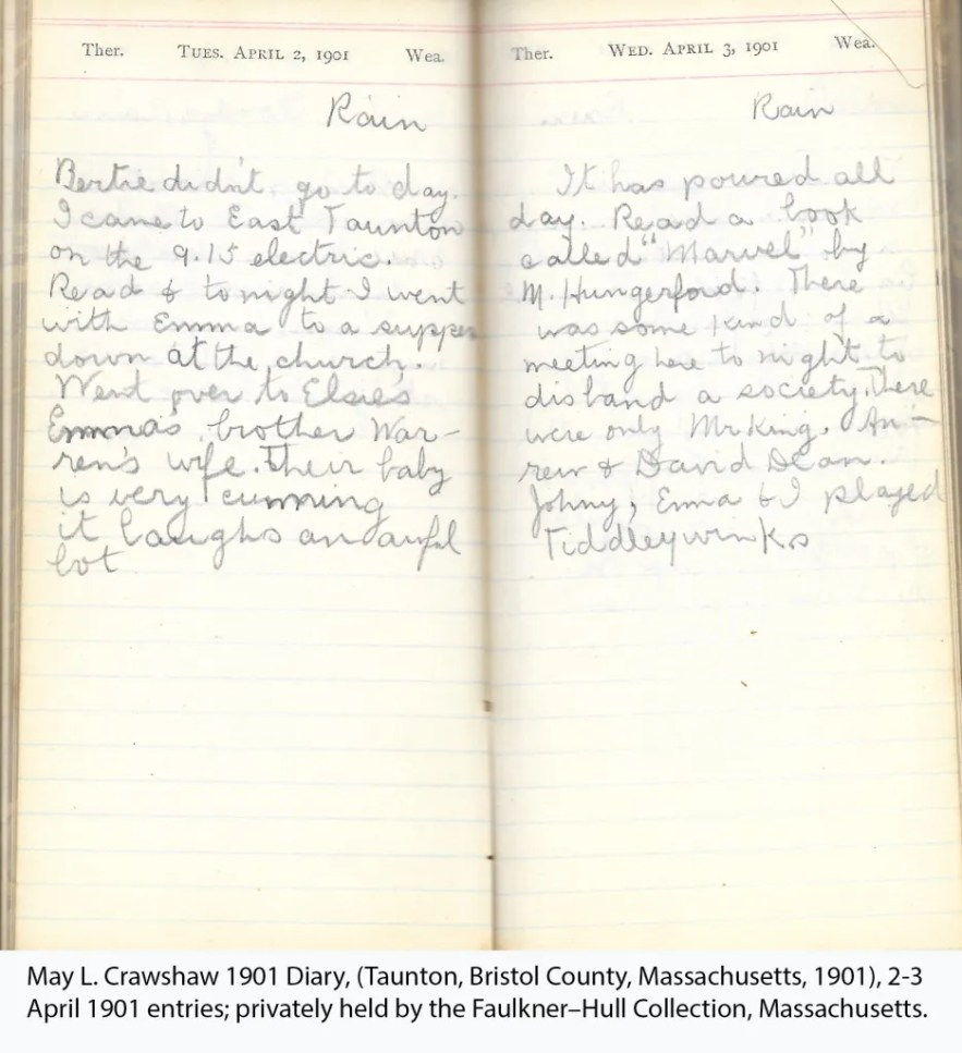 May L. Crawshaw 1901 Diary, Taunton, Bristol County, Massachusetts, 1901, 2-3 April 1901 entries