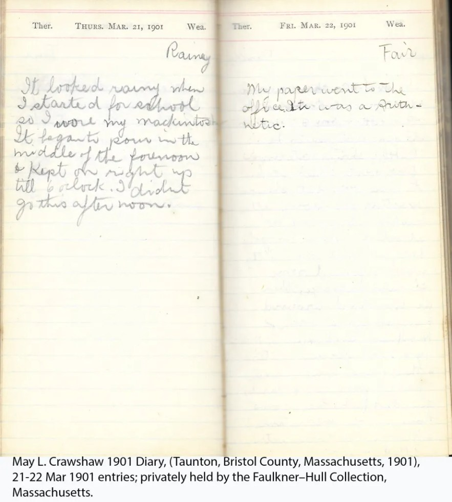 May L. Crawshaw 1901 Diary, Taunton, Bristol County, Massachusetts, 1901, 21-22 Mar 1901 entries