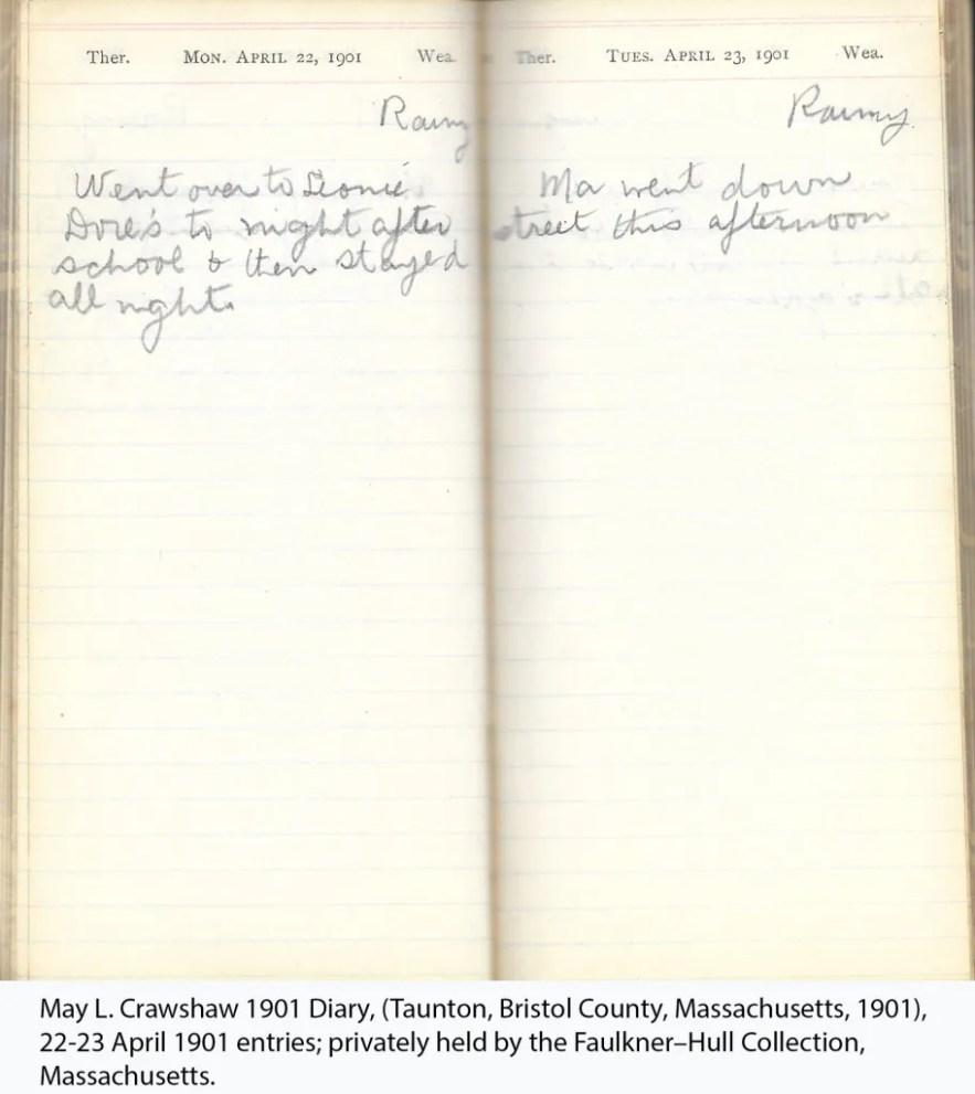 May L. Crawshaw 1901 Diary, Taunton, Bristol County, Massachusetts, 1901, 22-23 April 1901 entries