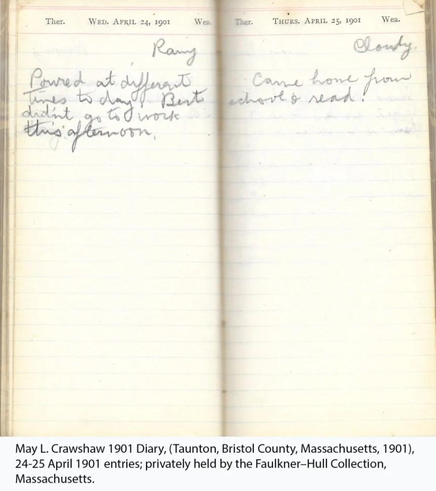 May L. Crawshaw 1901 Diary, Taunton, Bristol County, Massachusetts, 1901, 24-25 April 1901 entries