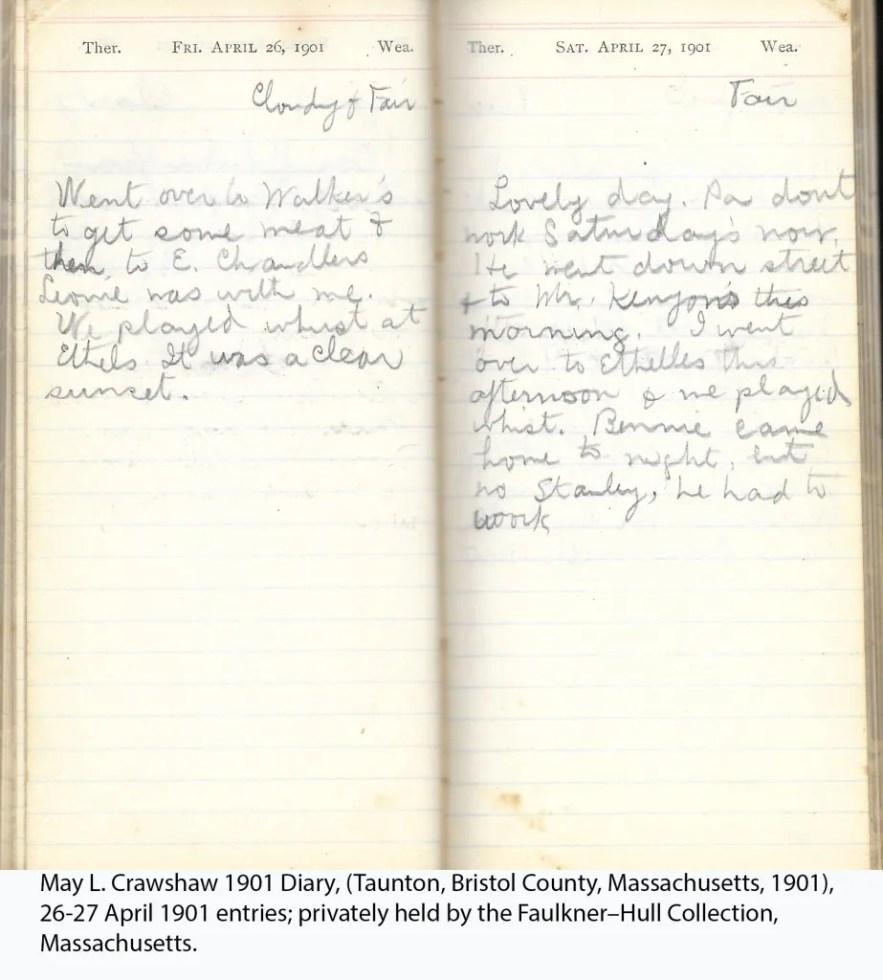 May L. Crawshaw 1901 Diary, Taunton, Bristol County, Massachusetts, 1901, 26-27 April 1901 entries