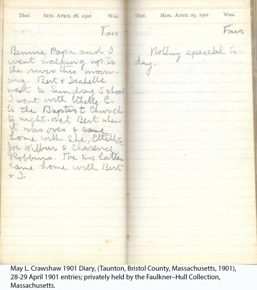 May L. Crawshaw 1901 Diary, Taunton, Bristol County, Massachusetts, 1901, 28-29 April 1901 entries
