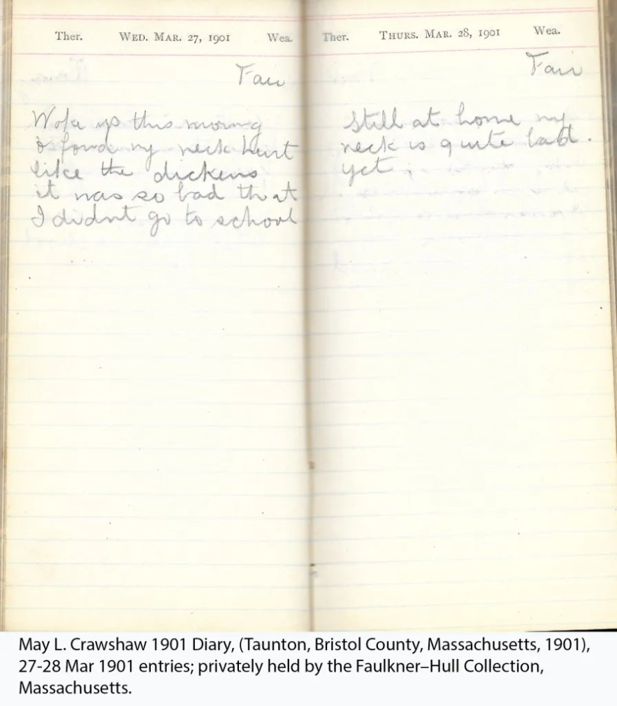May L. Crawshaw 1901 Diary, Taunton, Bristol County, Massachusetts, 1901, 28-29 Mar 1901 entries