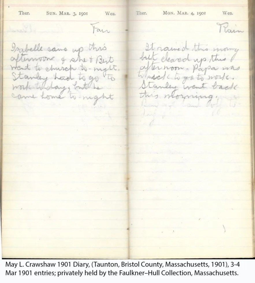 May L. Crawshaw 1901 Diary, Taunton, Bristol County, Massachusetts, 1901, 3-4 Mar 1901 entries