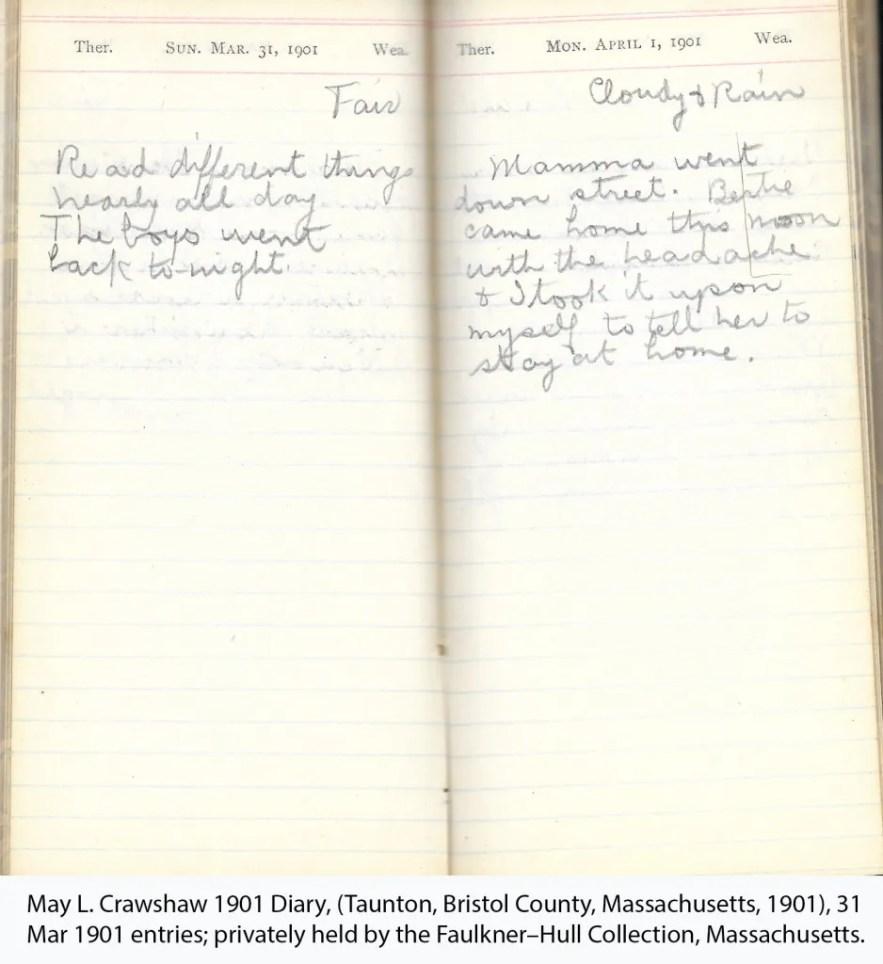 May L. Crawshaw 1901 Diary, Taunton, Bristol County, Massachusetts, 1901, 31 Mar 1901 entries