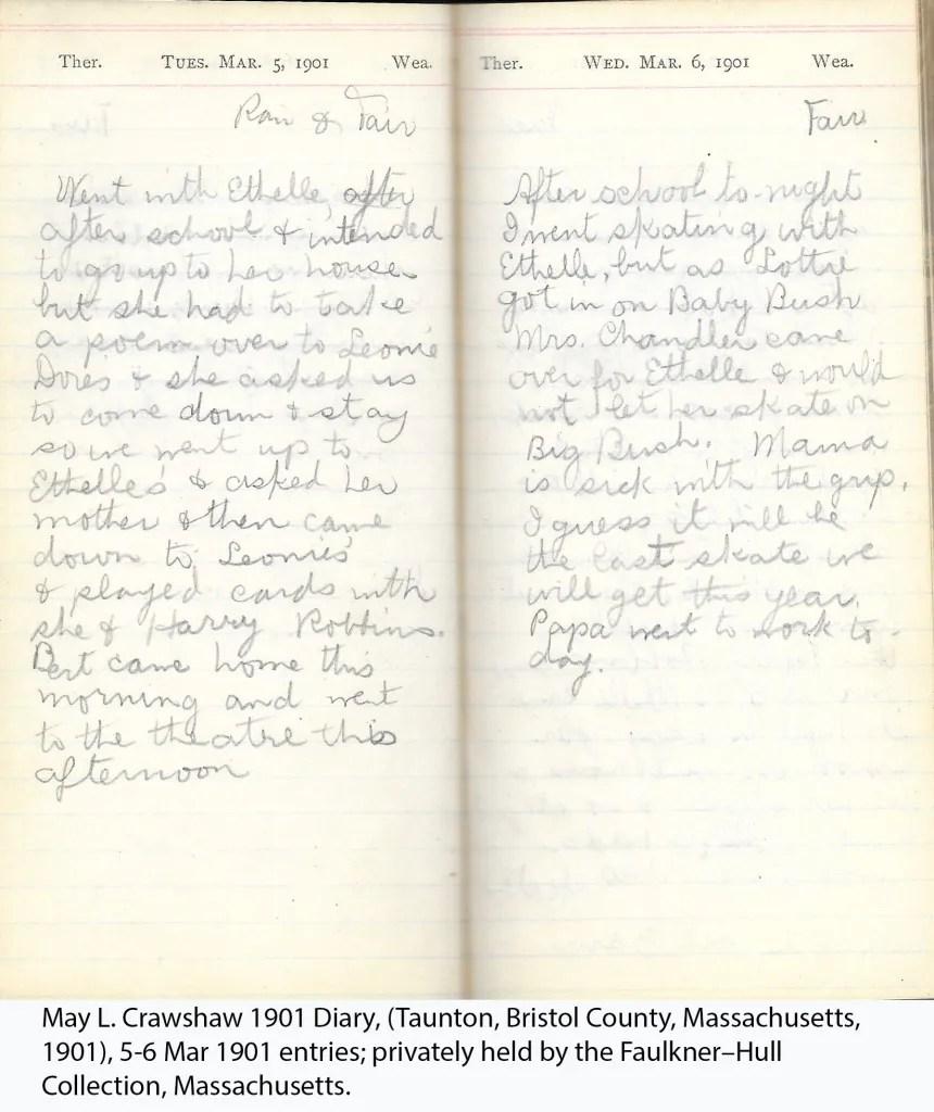 May L. Crawshaw 1901 Diary, Taunton, Bristol County, Massachusetts, 1901, 5-6 Mar 1901 entries
