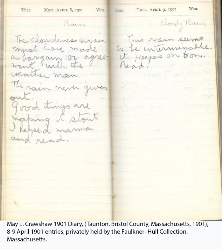 May L. Crawshaw 1901 Diary, Taunton, Bristol County, Massachusetts, 1901, 8-9 April 1901 entries