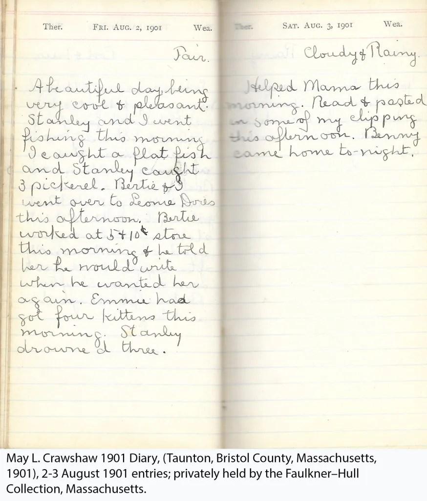 May L. Crawshaw 1901 Diary, Taunton, Bristol County, Massachusetts, 2-3 Aug 1901 entries