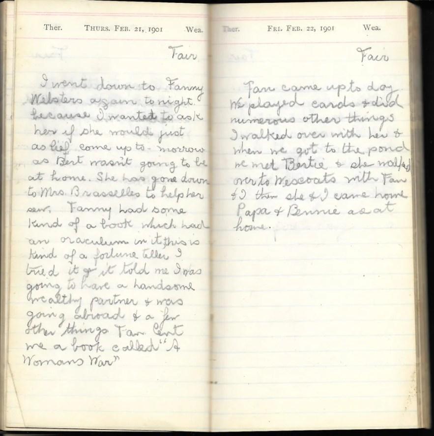 May L. Crawshaw 1901 Diary, Taunton, Bristol County, Massachusetts, 21-22 Feb 1901 entries
