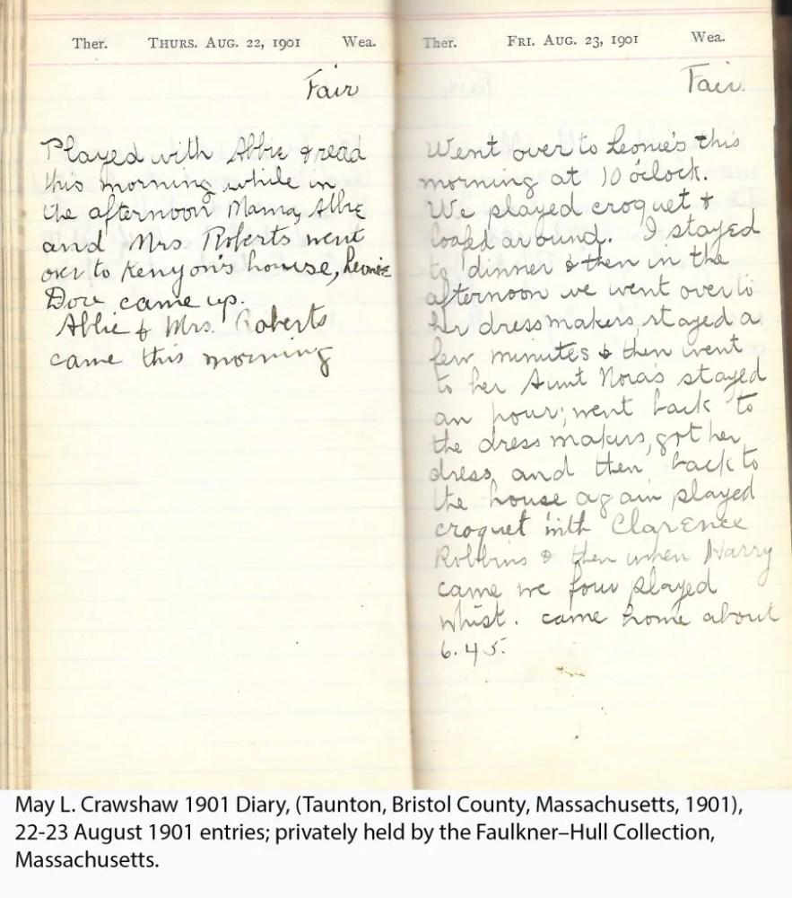 May L. Crawshaw 1901 Diary, Taunton, Bristol County, Massachusetts, 22-23 Aug 1901 entries