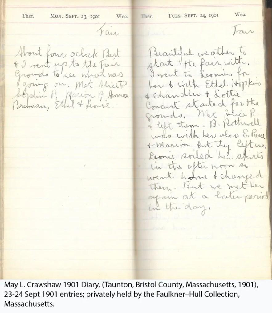 May L. Crawshaw 1901 Diary, Taunton, Bristol County, Massachusetts, 23-24 Sept 1901 entries