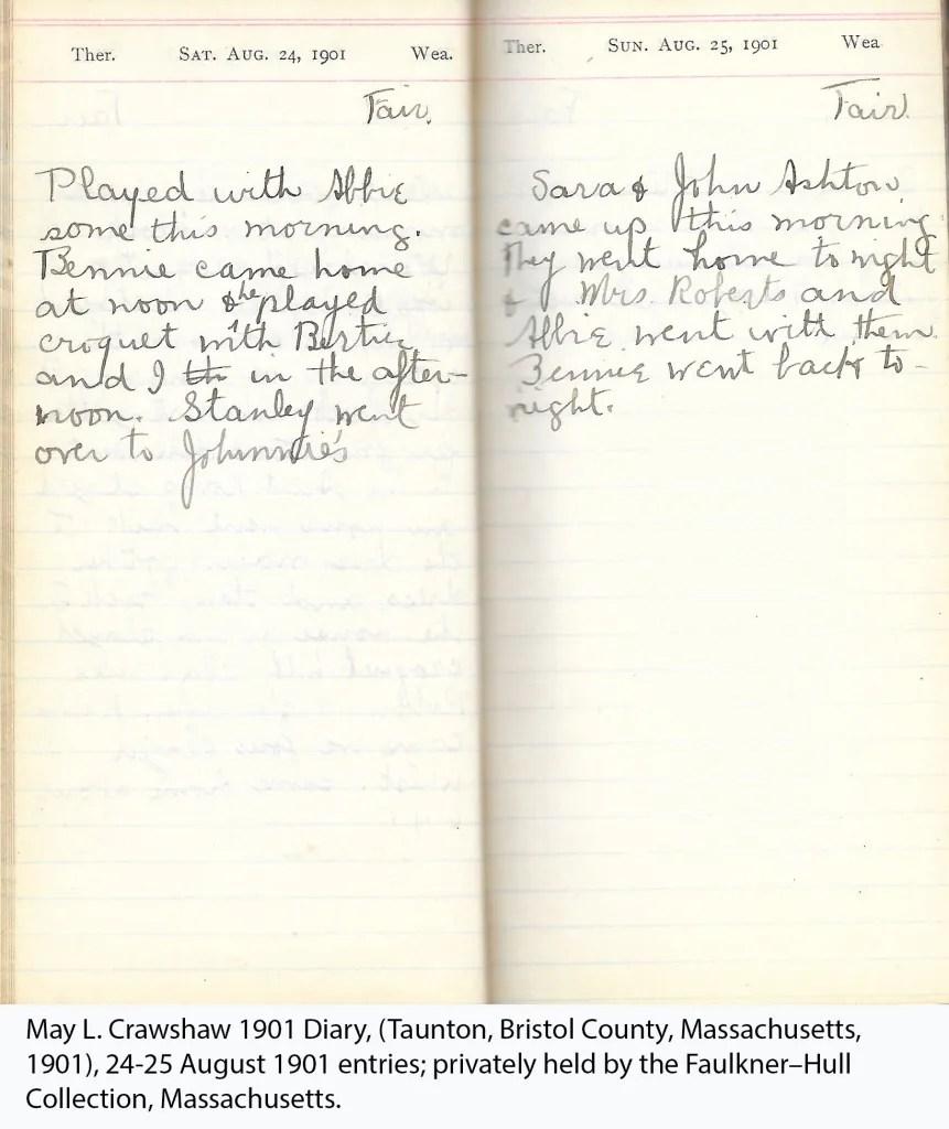May L. Crawshaw 1901 Diary, Taunton, Bristol County, Massachusetts, 24-25 Aug 1901 entries