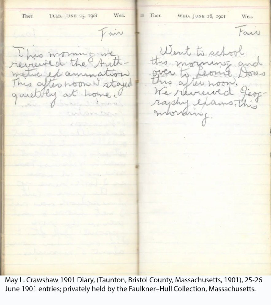 May L. Crawshaw 1901 Diary, Taunton, Bristol County, Massachusetts, 25-26 June 1901 entries