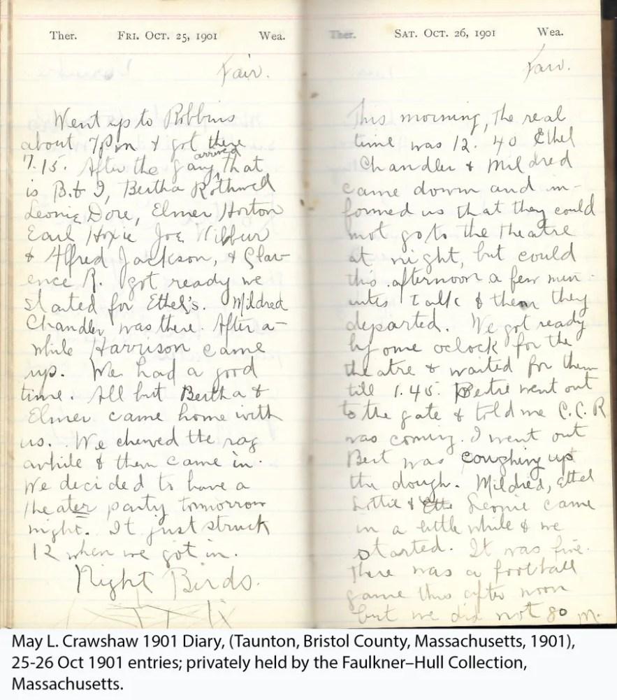 May L. Crawshaw 1901 Diary, Taunton, Bristol County, Massachusetts, 25-26 Oct 1901 entries