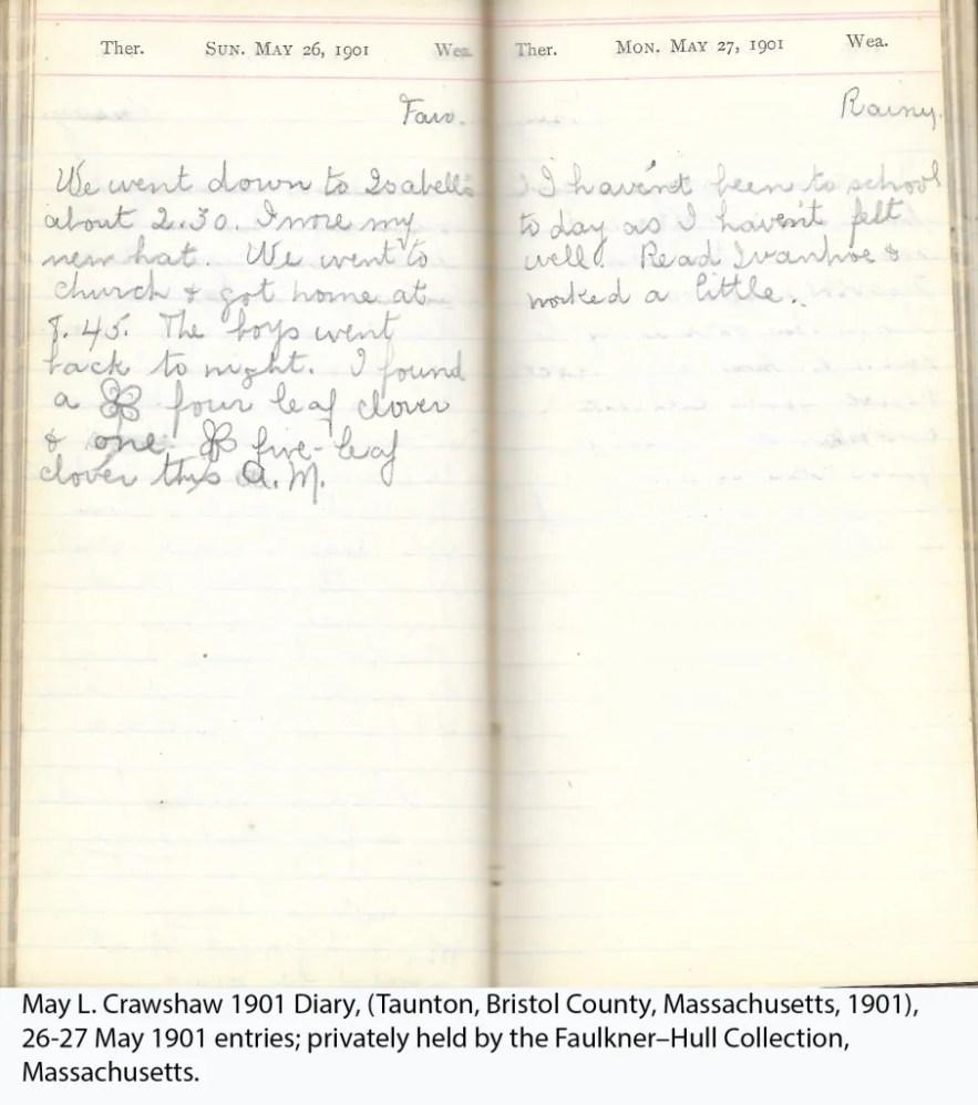 May L. Crawshaw 1901 Diary, Taunton, Bristol County, Massachusetts, 26-27 May 1901 entries