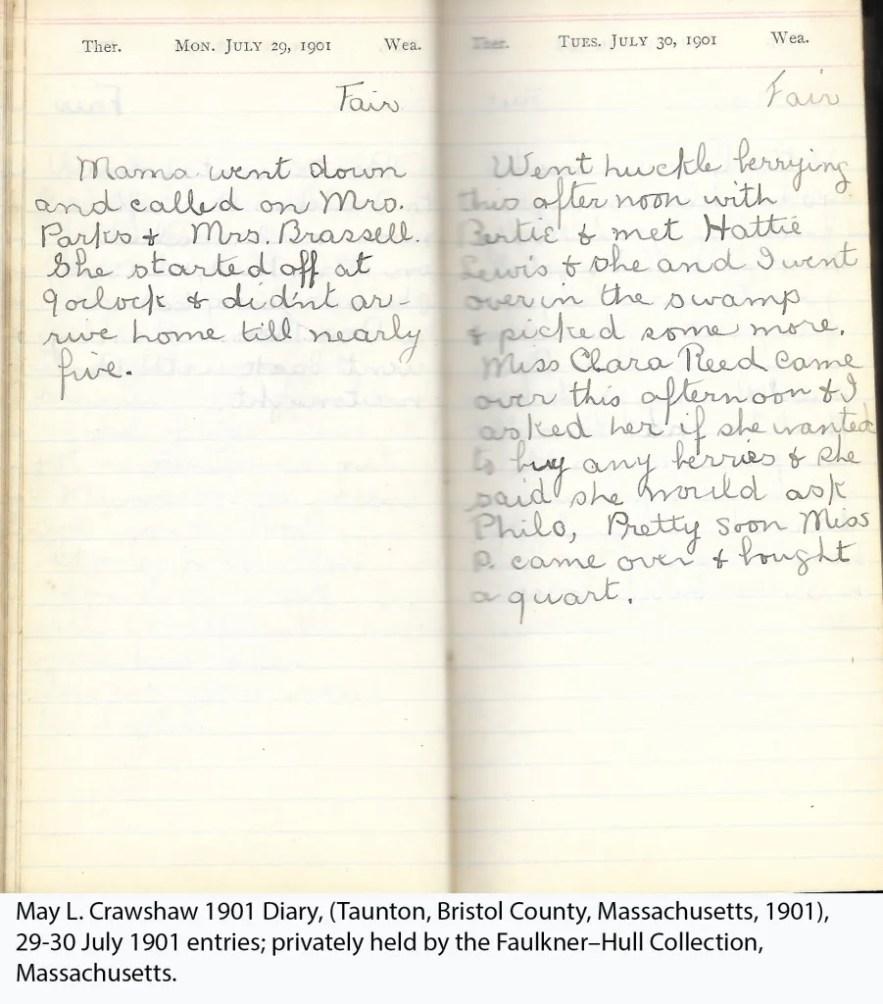 May L. Crawshaw 1901 Diary, Taunton, Bristol County, Massachusetts, 29-30 July 1901 entries