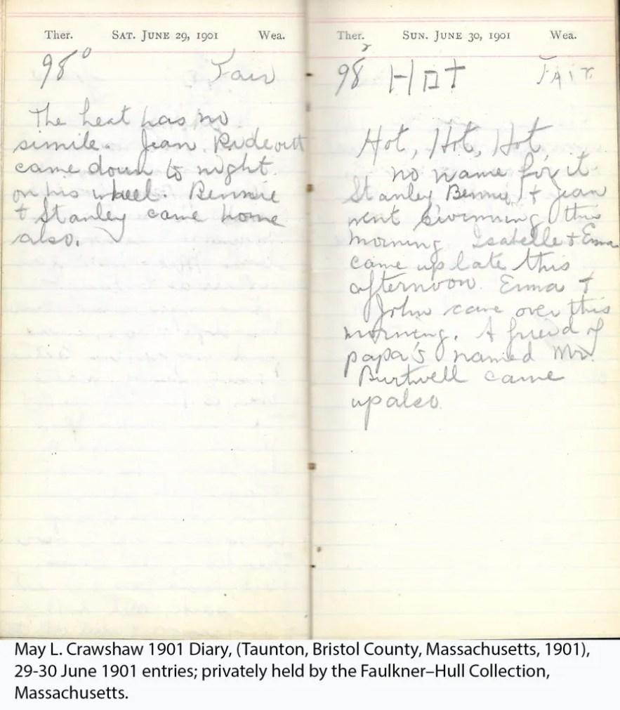May L. Crawshaw 1901 Diary, Taunton, Bristol County, Massachusetts, 29-30 June 1901 entries