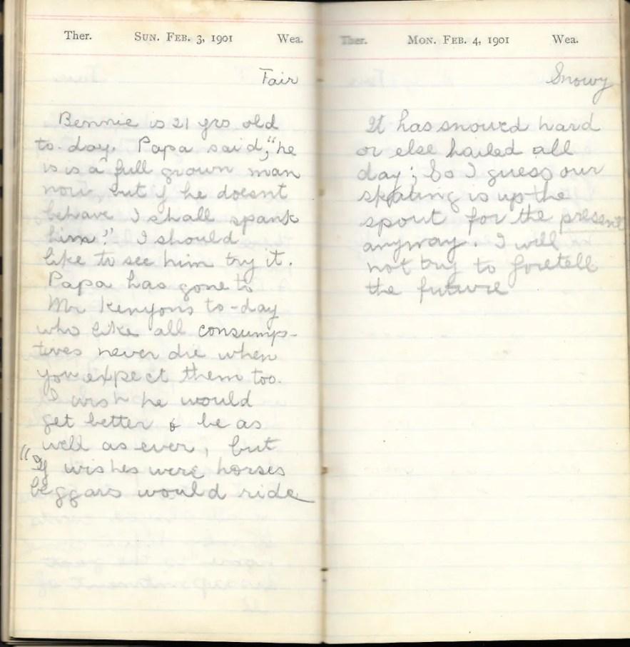 May L. Crawshaw 1901 Diary, Taunton, Bristol County, Massachusetts, 3-4 Feb 1901 entries