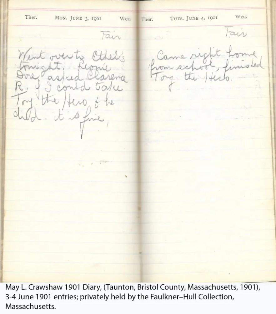May L. Crawshaw 1901 Diary, Taunton, Bristol County, Massachusetts, 3-4 June 1901 entries