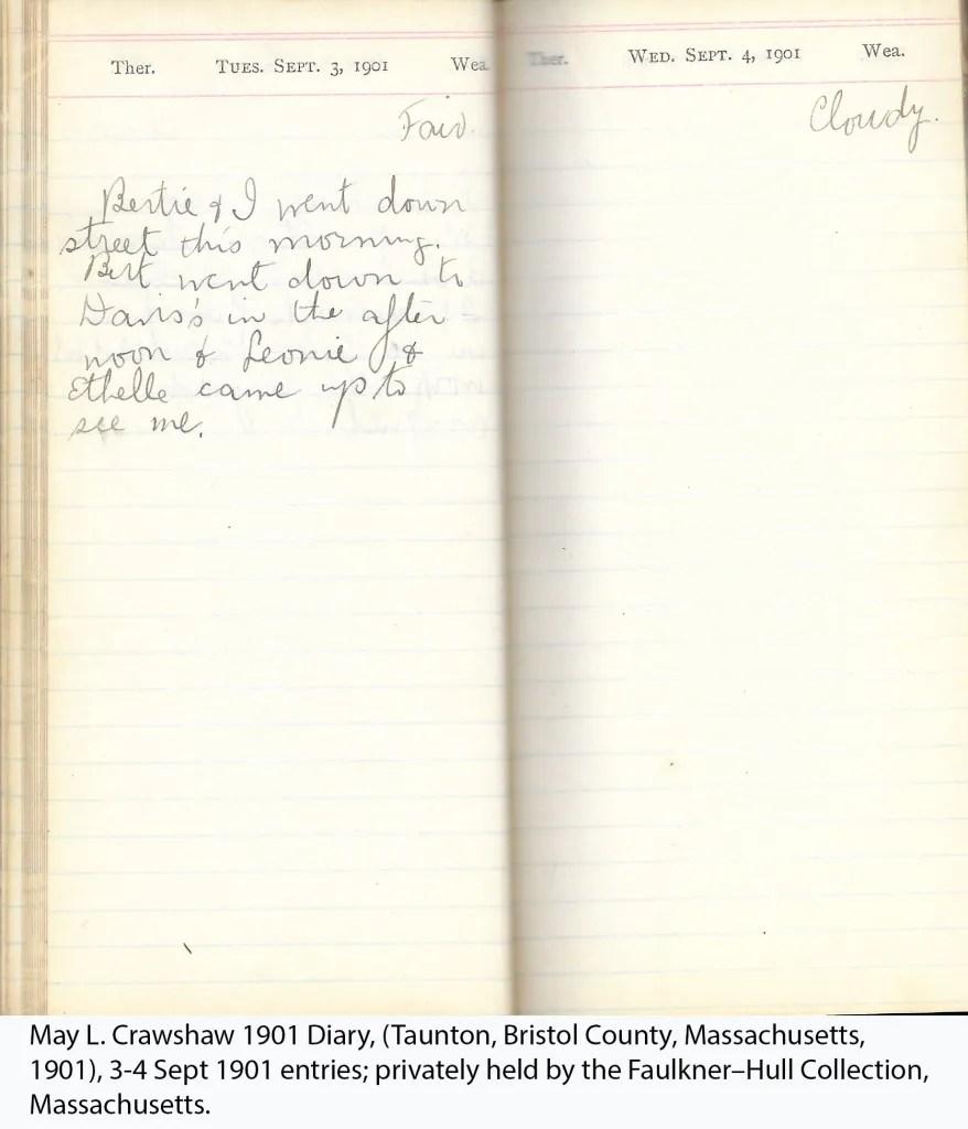 May L. Crawshaw 1901 Diary, Taunton, Bristol County, Massachusetts, 3-4 Sept 1901 entries