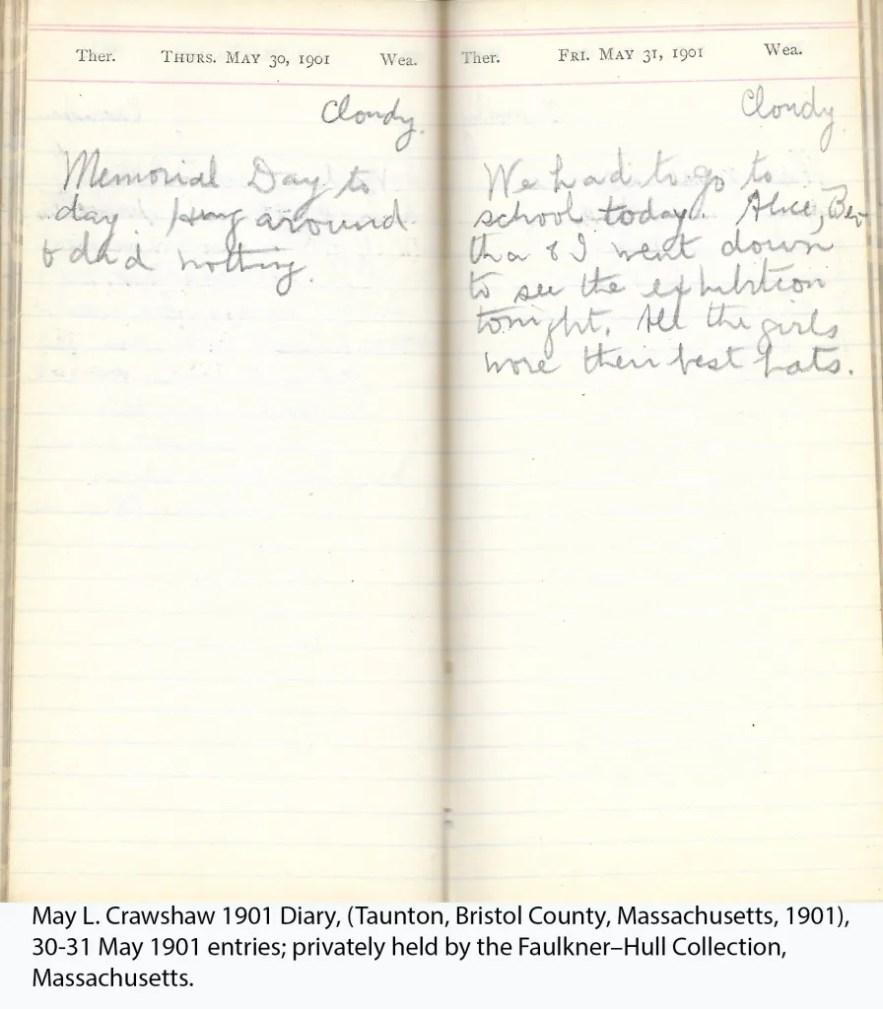 May L. Crawshaw 1901 Diary, Taunton, Bristol County, Massachusetts, 30-31 May 1901 entries