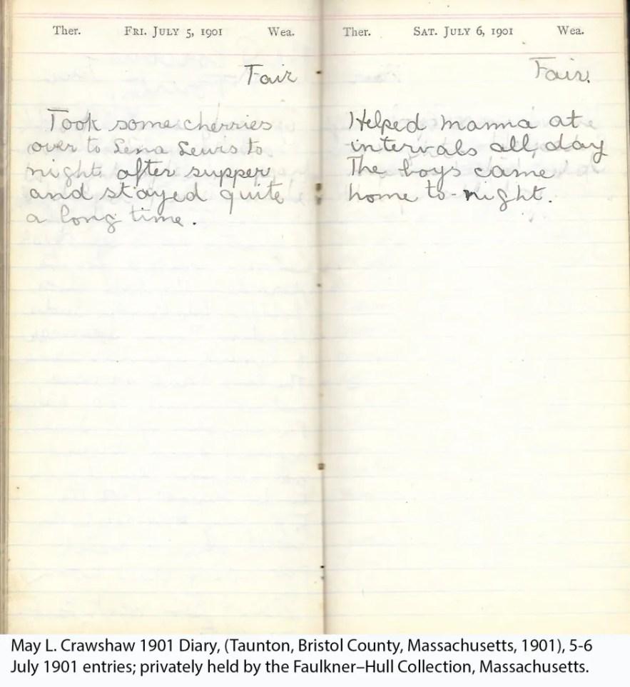 May L. Crawshaw 1901 Diary, Taunton, Bristol County, Massachusetts, 5-6 July 1901 entries
