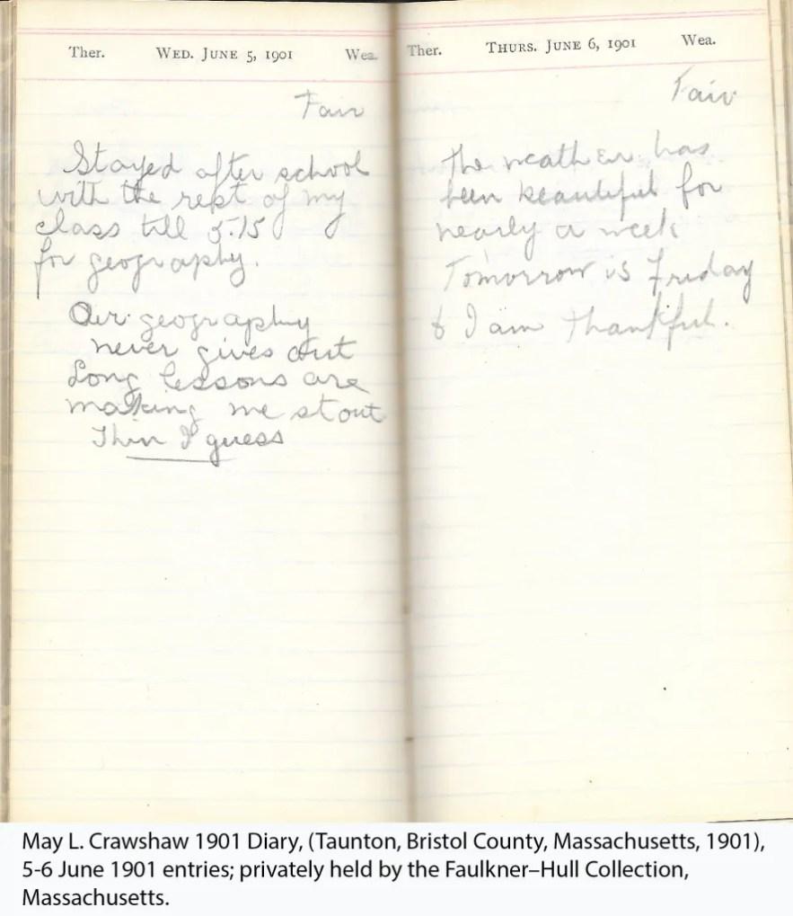 May L. Crawshaw 1901 Diary, Taunton, Bristol County, Massachusetts, 5-6 June 1901 entries