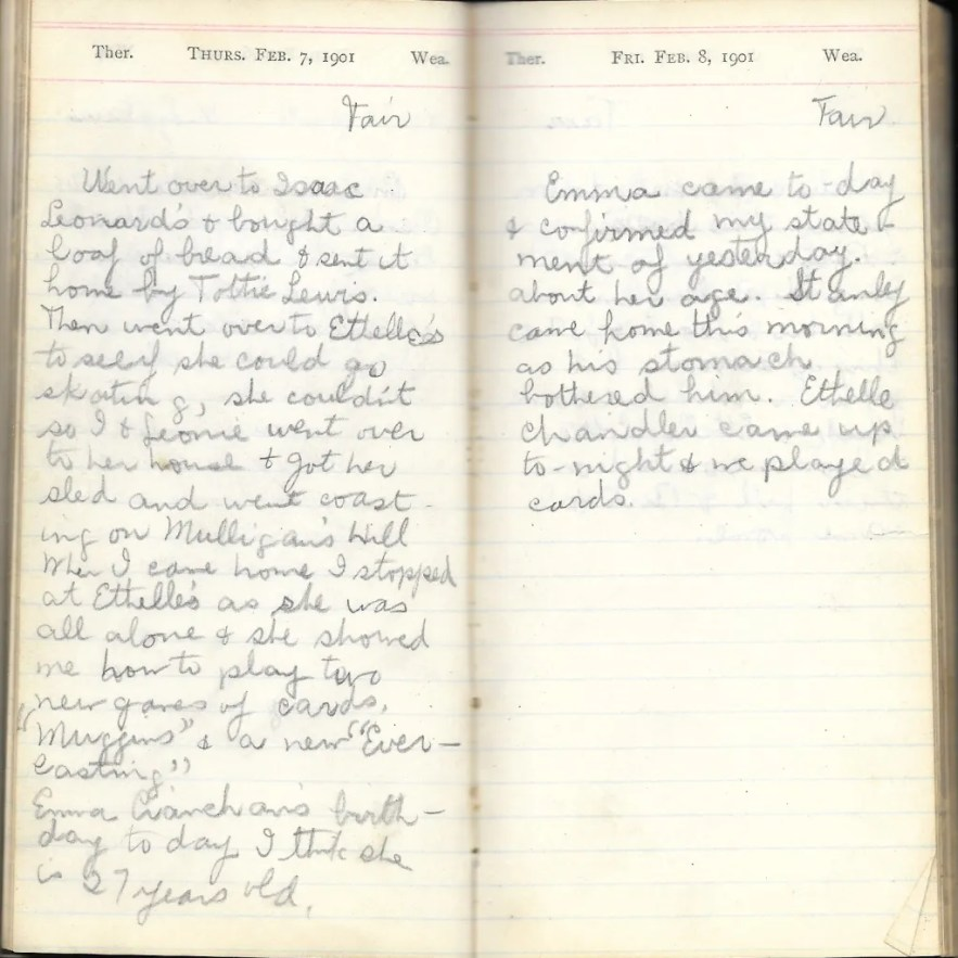 May L. Crawshaw 1901 Diary, Taunton, Bristol County, Massachusetts, 7-8 Feb 1901 entries