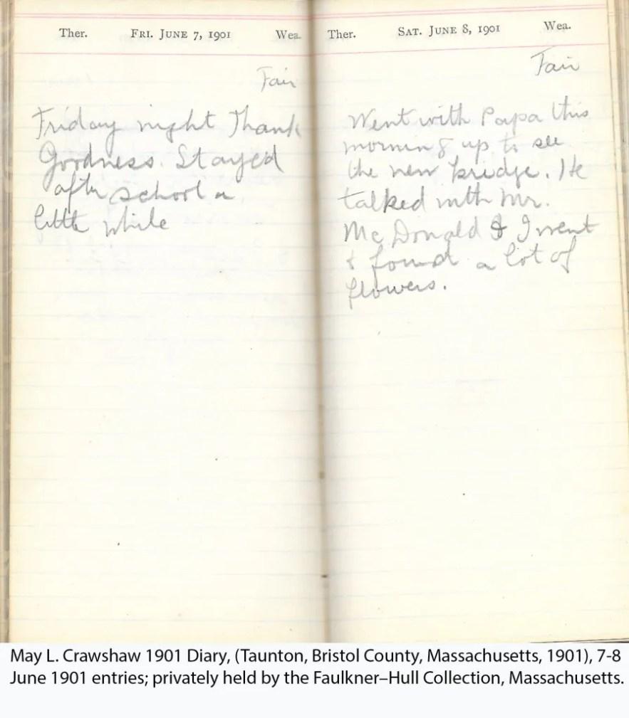May L. Crawshaw 1901 Diary, Taunton, Bristol County, Massachusetts, 7-8 June 1901 entries