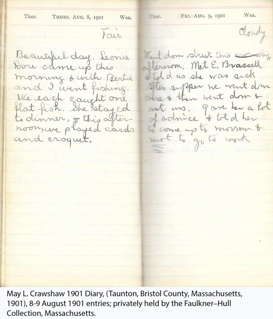 May L. Crawshaw 1901 Diary, Taunton, Bristol County, Massachusetts, 8-9 Aug 1901 entries