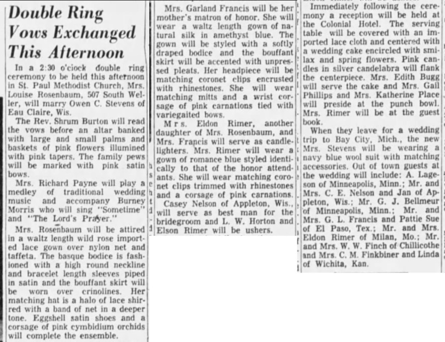 """""""Double Ring Vows Exchanged This Afternoon,"""" Mrs. Louise Rosenbum–Owen C. Stevens marriage announcement, Springfield Leader and Press (Springfield, Missouri), 4 Apr 1954, p. B2, col. 3."""