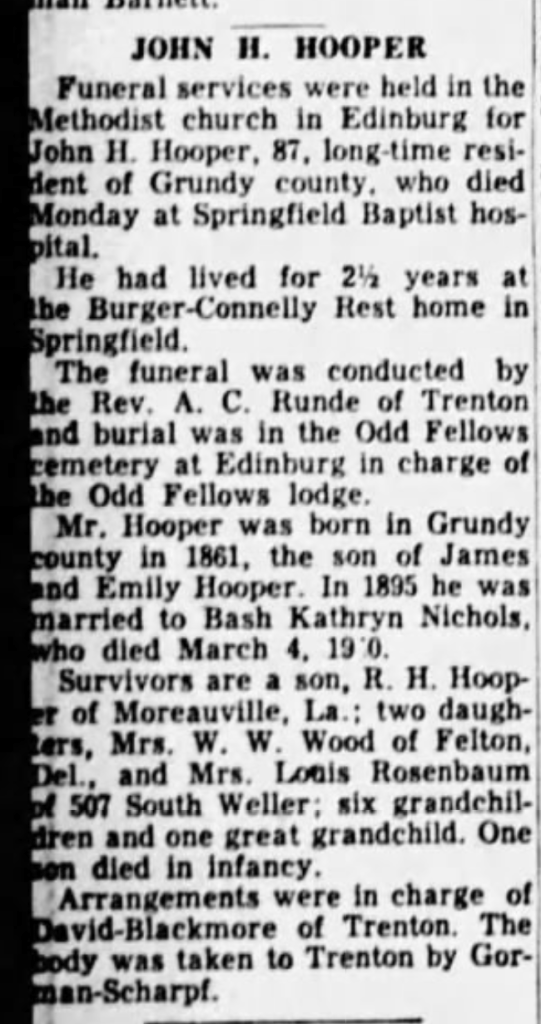"""John H. Hooper,"" obituary, Springfield Leader and Press (Springfield, Missouri), 9 Nov 1952, p. 14, col. 1."