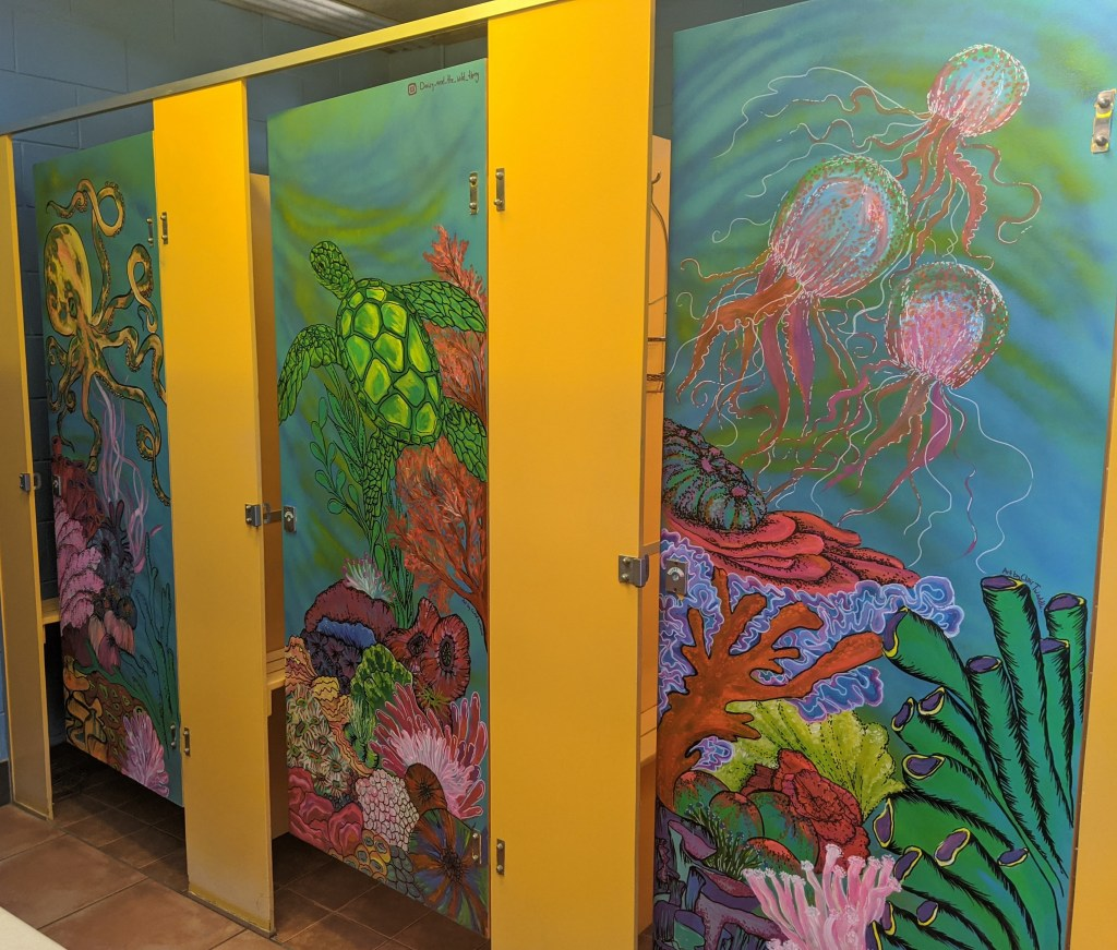Depicts artwork created by volunteer staff in communal female bathroom