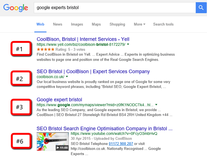 Our SEO Bristol Company Ranking Proof Screenshot From Google Image