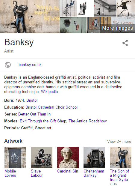 Bristol's Banksy in Google search brand