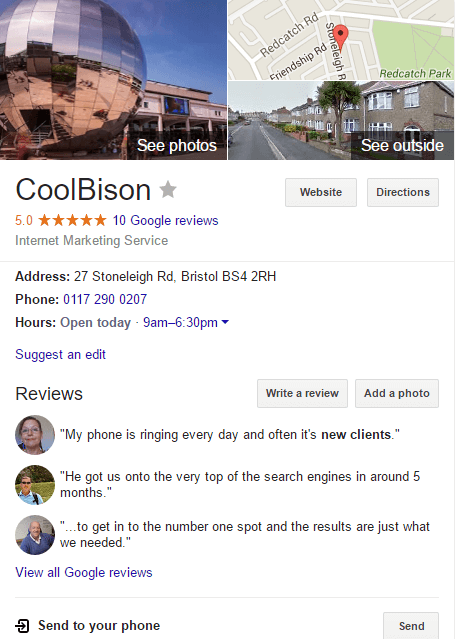 CoolBison Bristol Google My Business Page image