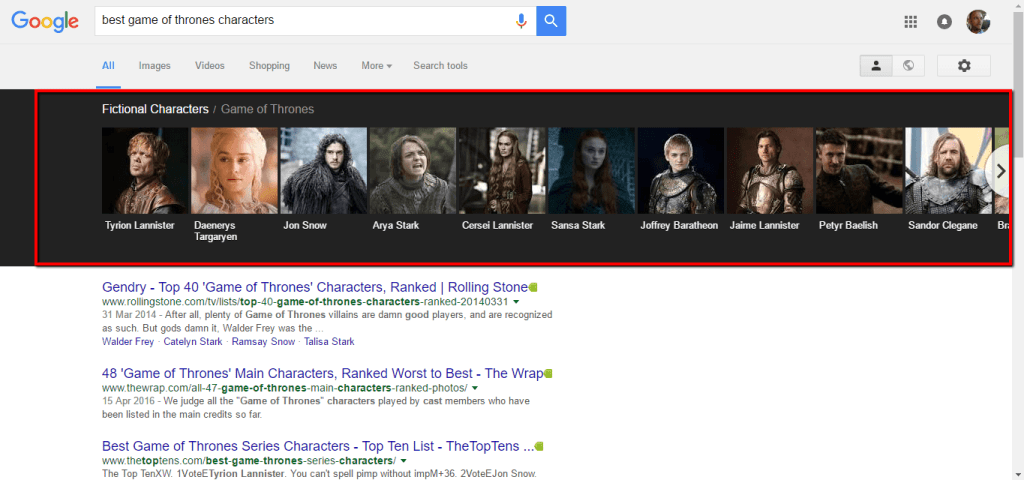 characters in the game of thrones via google search