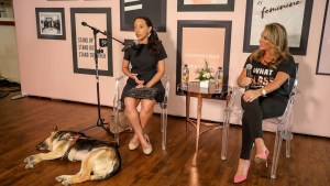 Disability rights lawyer Haben Girma with The Female Quotient CEO Shelley Zalis and dog Maxine at The Girls' Lounge during SXSW 2018