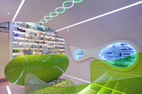 Futuristic Welcoming Pharmacy Designs with Simple Green Interior2