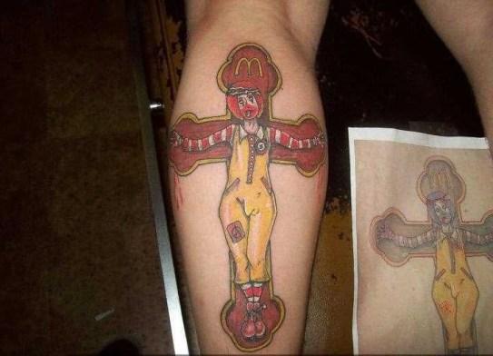 funny_colored_mcdonalds_clown_on_crucifix