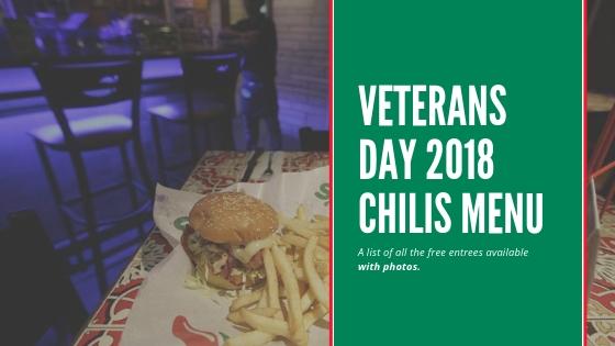 Veterans day 2018 chilis menu