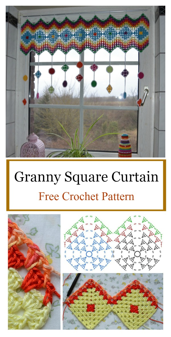 Granny Square Curtain Tags Free Crochet Pattern