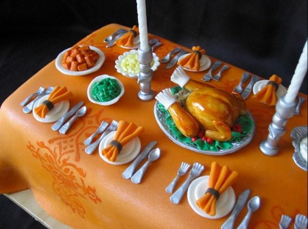 Miniature Thanksgiving dinner cake