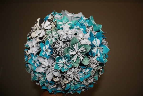 White and blue Origami Bouquet